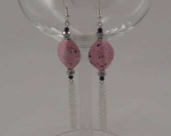 Pink Speckled Dangling Earrings