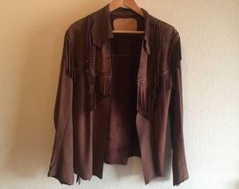 Vintage buckskin fringed leather jacket
