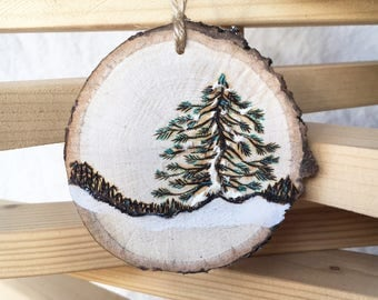 Ornament Wood burned hand painted custom