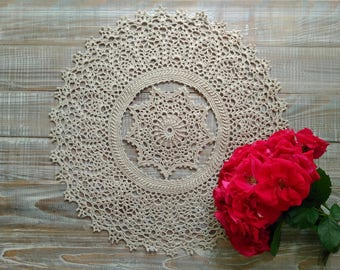 Textured doily Textured doily 3d Beige  textured doily Tablecloth 19 inches Round beige doily Realtor client gift Victorian doily Lace doily