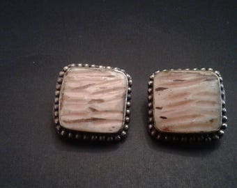 Vintage Alpaca and Carved Horn Southwestern Style Clip-On Earrings