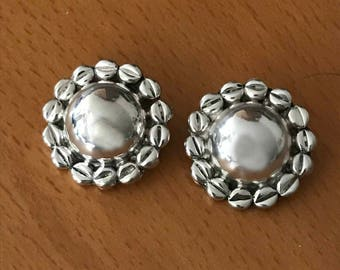Vintage Mexican Sterling Silver Clip-on Earrings