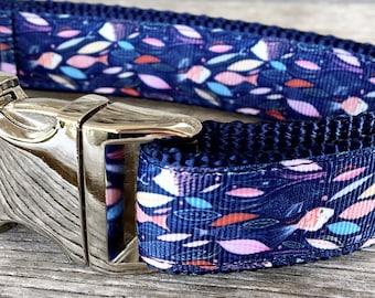 "School of Fish 1"" Wide Dog Collar, Minnows Dog Collar, Goldfish Dog Collar, Swimming Fish Dog Collar, Silver Hardware Collar"