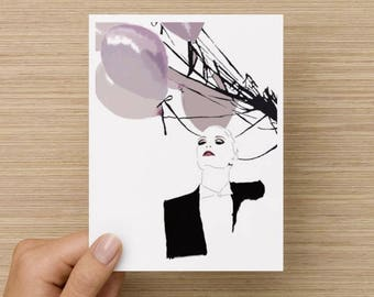 Birthday card / Blank inside / Party invitation / Celebration / Fashion inspired card / Balloons / Banksy inspired artwork / Graffiti card