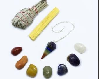 Chakra Crystal Healing Kit: Chakra Pendulum with Chakra Crystals, White California Sage, Palo Santo, + Instructions -Balance Your Chakras