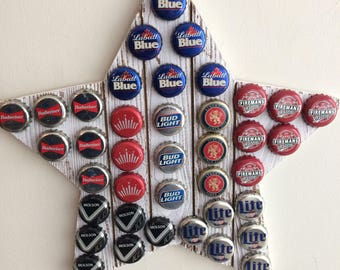 Whitewashed Star Wall Hanging With Beer Caps-Man Cave Beer Bottle Cap Art Wall Hanging