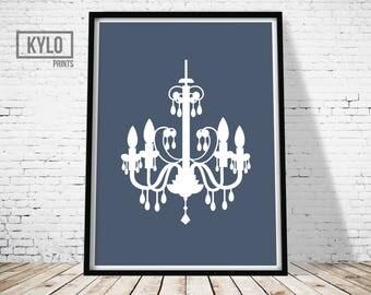 Chandelier Print, Printable Art, Modern Print, Home Printables, Gift Idea, Home Decor, Home print, Minimalist print, Navy Blue, Abstract Art