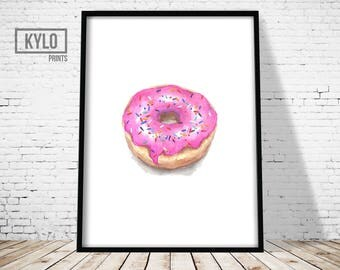 Donut Print, Wall Art Print, Funny Posters, Watercolor Print, Watercolor art, Donut Art, Home Wall Art, Home Print, Minimalist Print, Modern