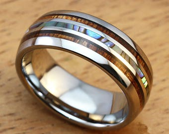 Titanium Mens Wedding Band, Titanium Ring With Double Wood, Shell Inlays, 8mm Mens Ring, Wood Ring, Nature Ring, Promise Ring For Him