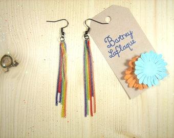 "Earrings ""Rainbow"" chains"