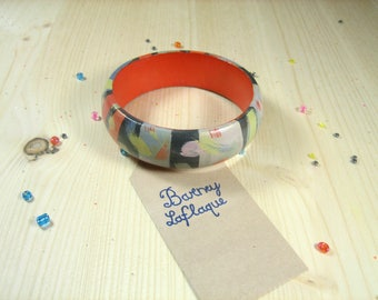 """Zebra"" hand painted wooden Bangle Bracelet"