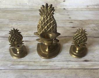 Brass Pineapple Candle Holder Set - Tropical Jungalow Boho Hollywood Regency Vintage Home Decor