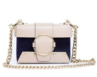 Navy Suede Mink Leather Handmade Bag