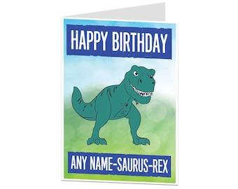 Dinosaur Birthday Card. Kids Birthday Card. Personalised Kids Birthday Card. Birthday Card For Boys