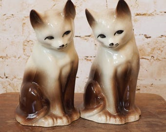 1960's Ceramic Cat Ornaments - Pair