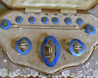 1910 A Cased Silver and Enamel Lady's Dressing Set, antique dressing set, Edwardian,