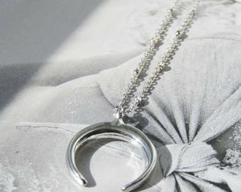Silver Horn Necklace, Tusk Necklace, Double Horn Necklace