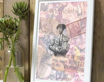 Bullfighter Manolete flowers A4 unframed print