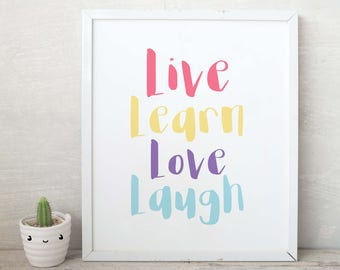 KIDS WALL ART live learn love Printable Nursery Art, Kids Room Decor, Nursery Decor, Kids Wall Art, Gender Neutral, Instant Download