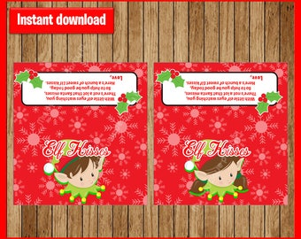 Instant Download - Elf Kisses Christmas Treat Bag Toppers - Gift Tag - Printable - Sandwich or Snack Bag - DIY