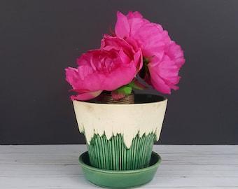 Vintage Green McCoy Pottery Planter // Icicle Planter // Jardiniere Flower Pot