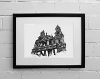 St Paul's Cathedral, London Print, Art Print, London Skyline, London GIfts, Sketch, Drawing Print, London Poster, Drawing and Illustration