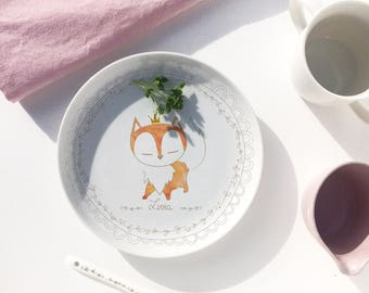 Personalized Fox porcelain plate