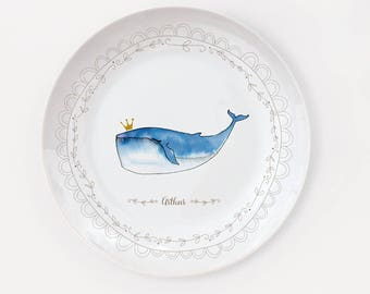 Personalized whale porcelain plate