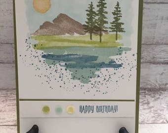 Birthday Card, Happy Birthday, Handmade Card, Beach, Pine Trees, Mountains, Nature, Stampin' Up! Waterfront