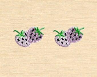 Set of 2 pcs Mini Pair Purple Strawberry Fruit Iron On Patches Sew On Aplliques