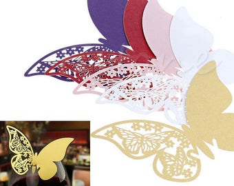 50pcs Butterfly Table Mark, Wine Glass Name Place Card