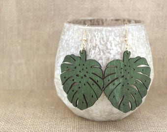 Green Leaf Laser Cut Wood Earrings