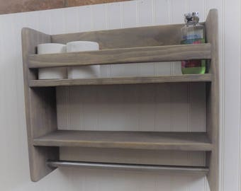 Bathroom Shelf with Towel Bar / Rustic / Storage