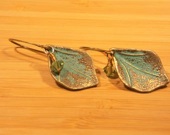 Antique Brass Leaf Shaped Earring with Crystal Accent