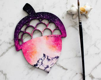 Pretty pink and purple galaxy painted on wood, acorn wood slice art, acrylic and watercolor
