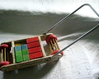 Playskool Walker Wagon with Handle, Blocks, Rattle Balls, Pull Push Vintage Toy