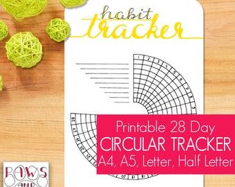 Circular Habit Tracker Printable • 28 Days • A5 Planner Insert • Habit Tracker • Monthly Tracker • Bullet Journal • Daily Planner • Template