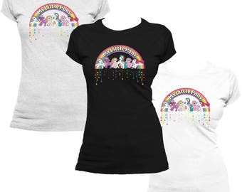 My Little Pony Retro Badge Official Women's T-shirt (Black) (White) (Heather Grey) Multiple Colours Available Rainbow