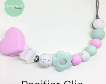 Heart pacifier chew clip - silicone chew beads -baby girl -gift - silicone beads - teething beads - soother clip - paci - chew pacifier clip