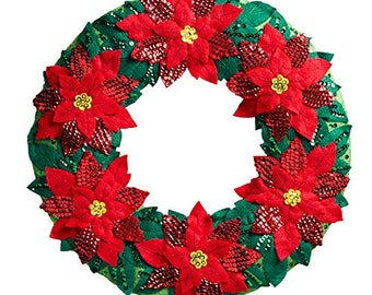 "Bucilla Elegant Poinsettia Wreath 15.5"" X 15.5"" Felt Applique Kit, 86827"