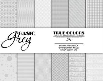 Basic Grey Digital Paper Pack Stripes Digital Paper Number Paper Pack Polka Dots Digital Paper Instant Download Scrapbook Digital Paper Pack