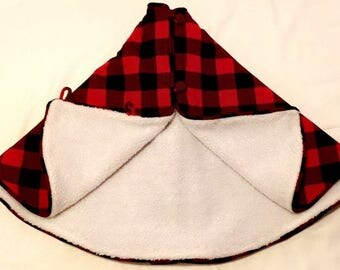 48 Inch Cotton Flannel Tree Skirt Buffalo Plaid Black And Red Check Handmade Lined