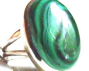 All Natural Malachite • solid sterling SILVER • Graphic • Ring • Size 7. B800