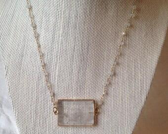 Crystal quartz rectangle necklace