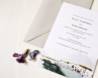 Watercolour foil wedding invitation