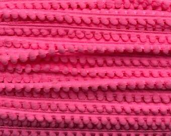 """3/8"""" Baby Hot Pink Pom-Pom Trim."""