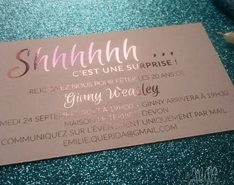 Metallic Surprise birthday invitation, wedding stationery, invitation, save the date.