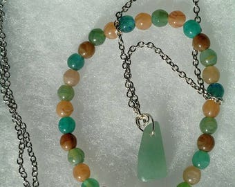 Multi-Colored Stone Necklace and Stretch Bracelet Gift Set
