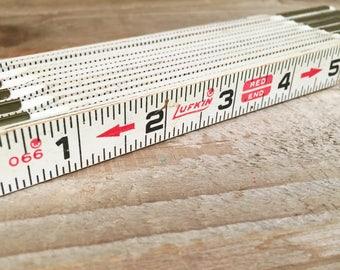 """Vintage 6ft Lufkin Folding Ruler 066 Red End 72"""" Made in USA"""