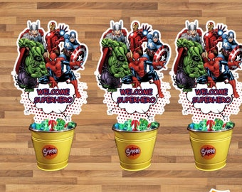 Center of table, centerpieces - SUPER hero marvel-birthday Printable, instant download.. .digital